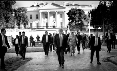 Trump walking out of white house